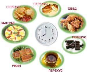 Время приема пищи в течение дня