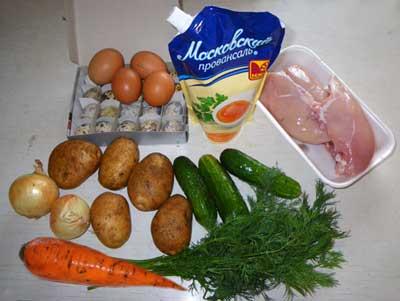 лук, картофель, яйца, куриные грудки